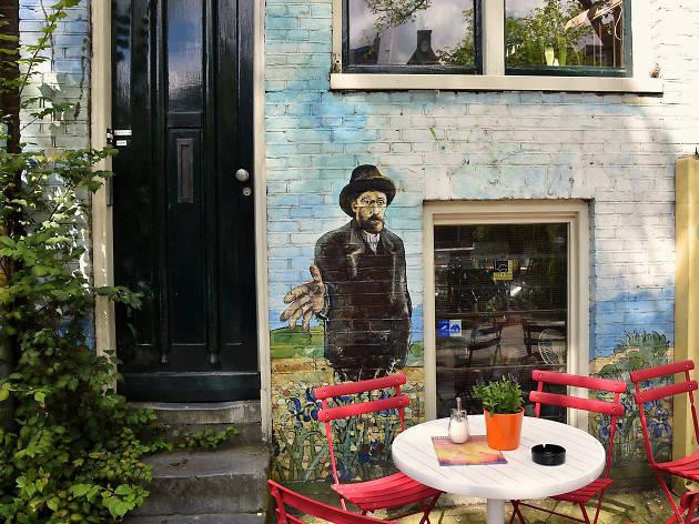 The terrace of La Tertulia coffeeshop in Amsterdam
