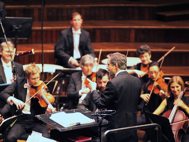 A conductor is conducting an orchestra, his back facing us and the musicians watching him.