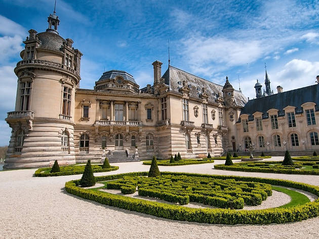 A view of a courtyard and part of the castle at Chantilly