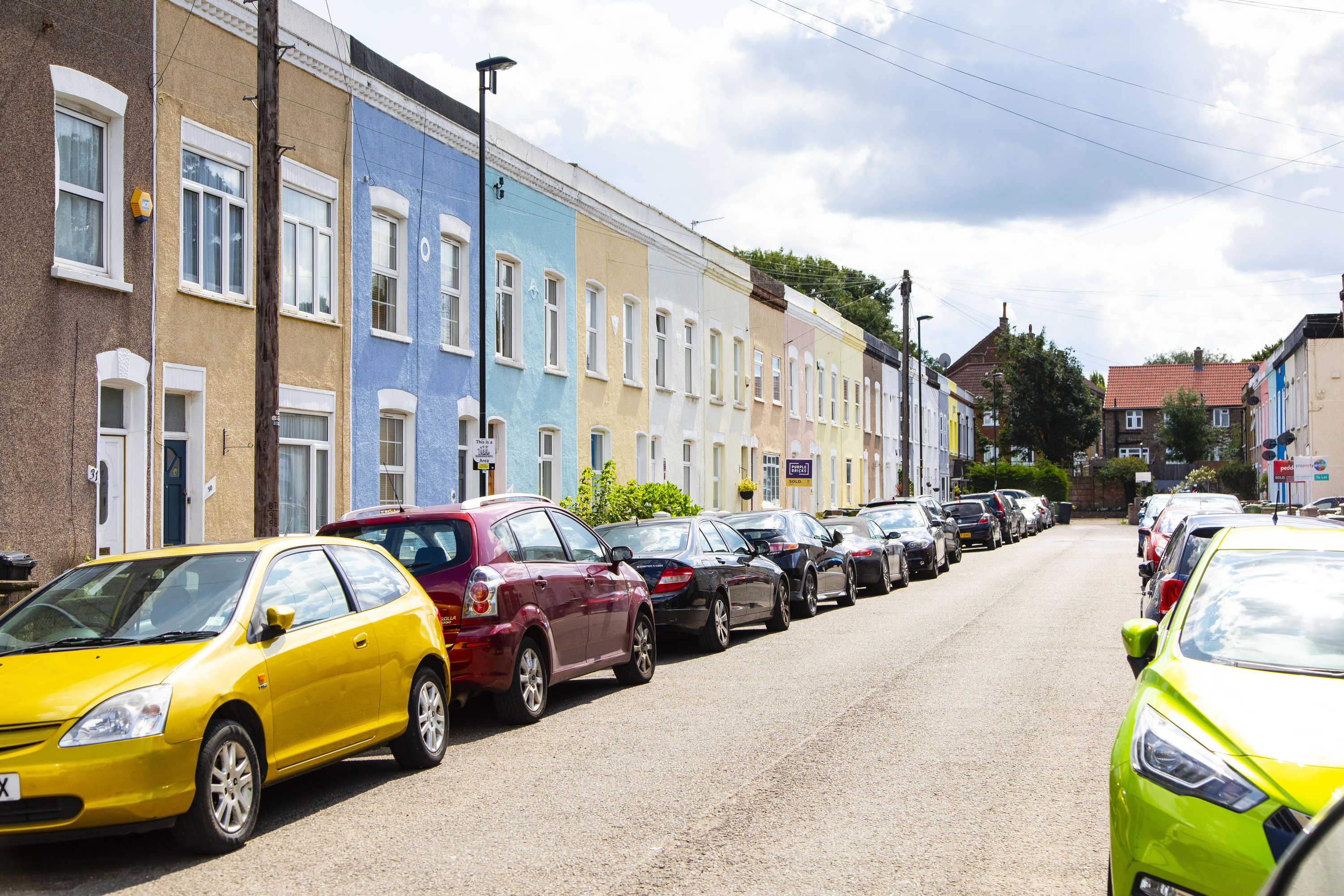 A street of colourful houses in Lower Sydenham