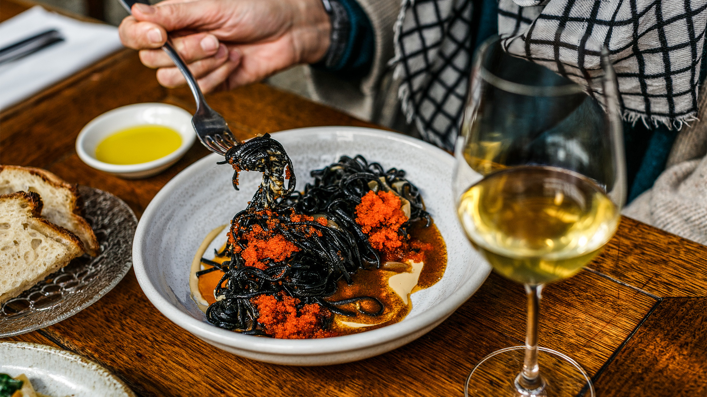 Squid ink tagliolini at Pinotta