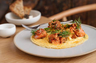 Scrambled eggs with smoked salmon at Quick Brown Fox Eatery in Pyrmont