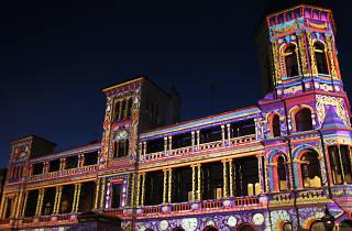 Craig's Hotel in Ballarat overlaid with colourful projection art as part of White Night Ballarat