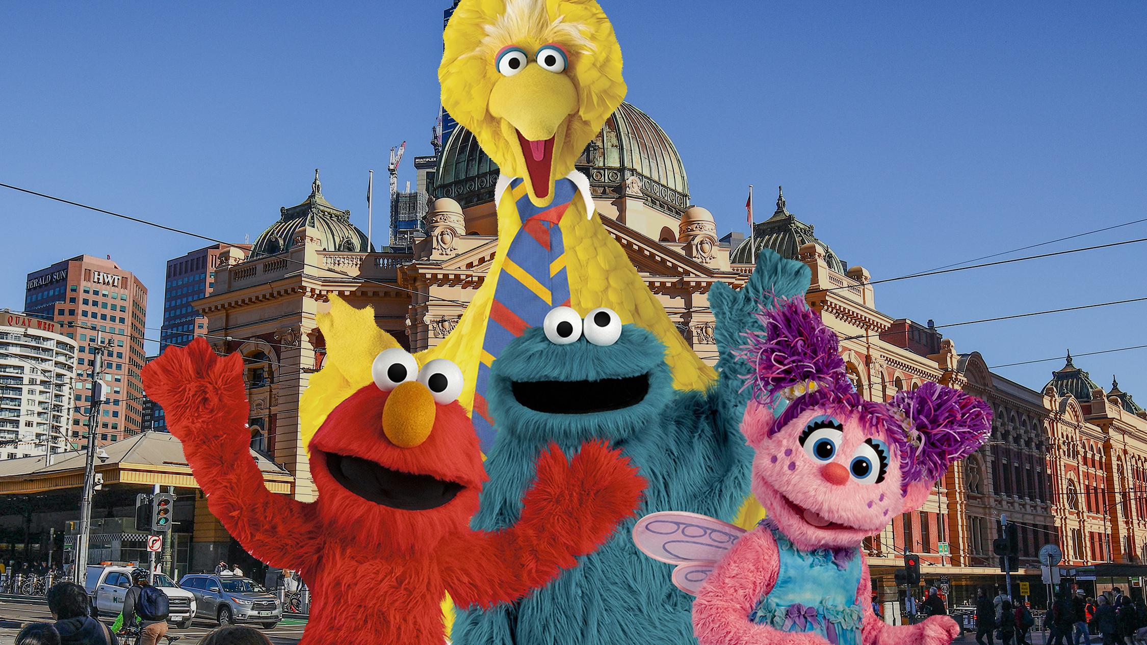 Sesame Street characters in front of Flinders Street Station