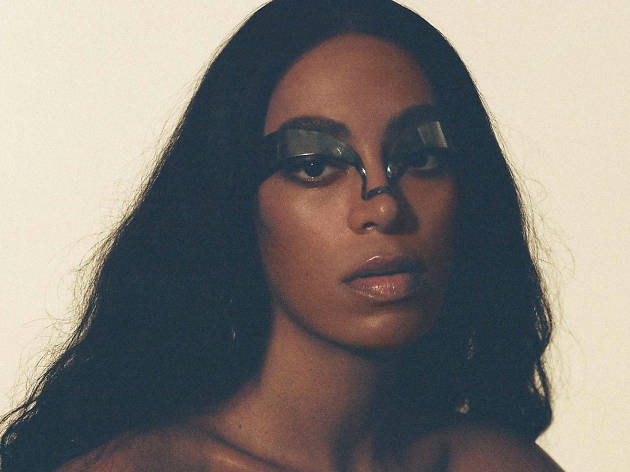 Solange Knowles with unusual eye make-up.