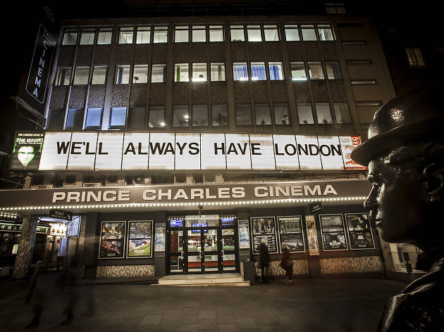 Display above the Prince Charles Cinema, commissioned by Time Out for London Loves Feature