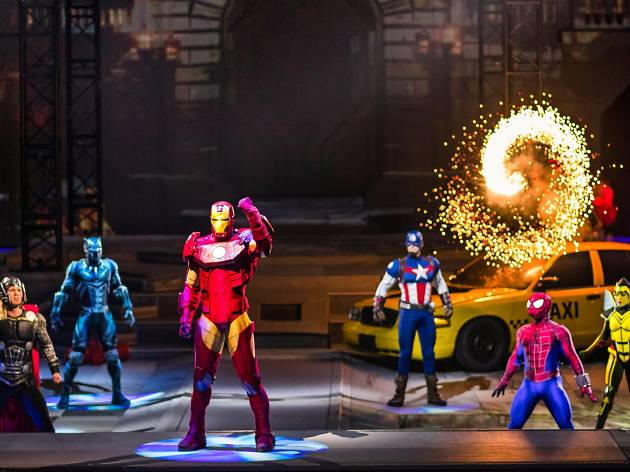 Iron Man Spider-Man Captain America Thor at Marvel Universe Live