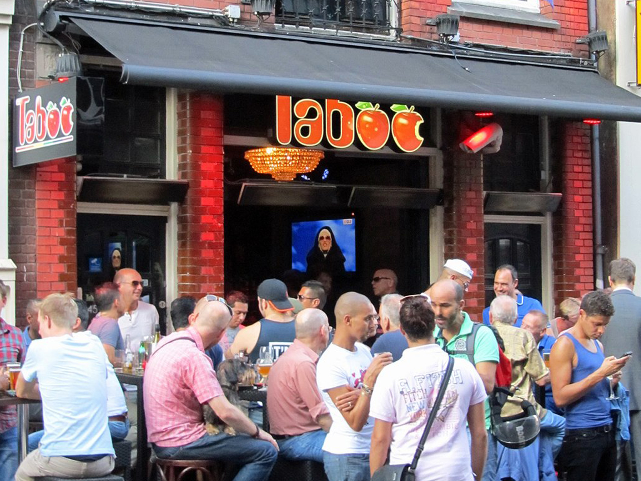 A crowd outside gay club Taboo in Amsterdam