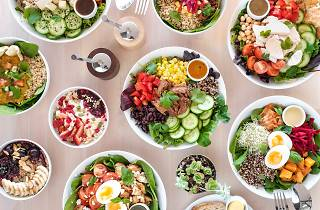 An overhead shot of breakfast and lunch bowls at Bliss Bowls