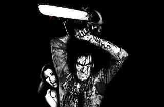 Black and white still from Evil Dead film