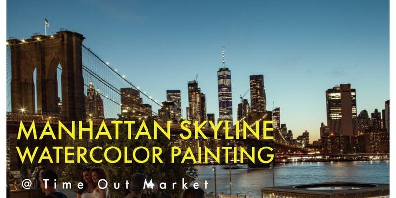 Manhattan Skyline Watercolor Painting