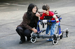 Mother with disabled son