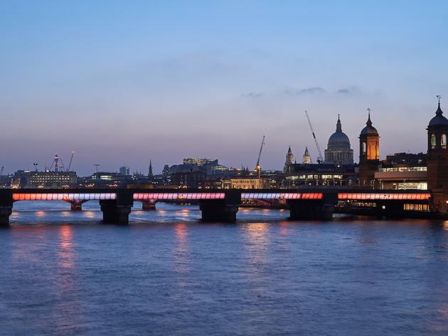 Illuminated River Cannon Street Bridge