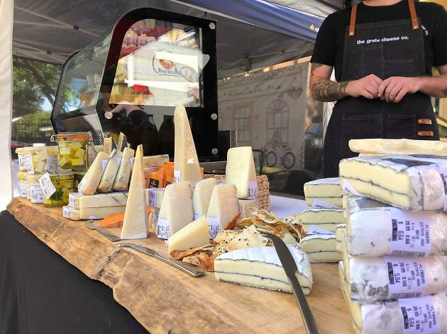 Cheese at at stall at the Flour Mill Markets Summer Hill.