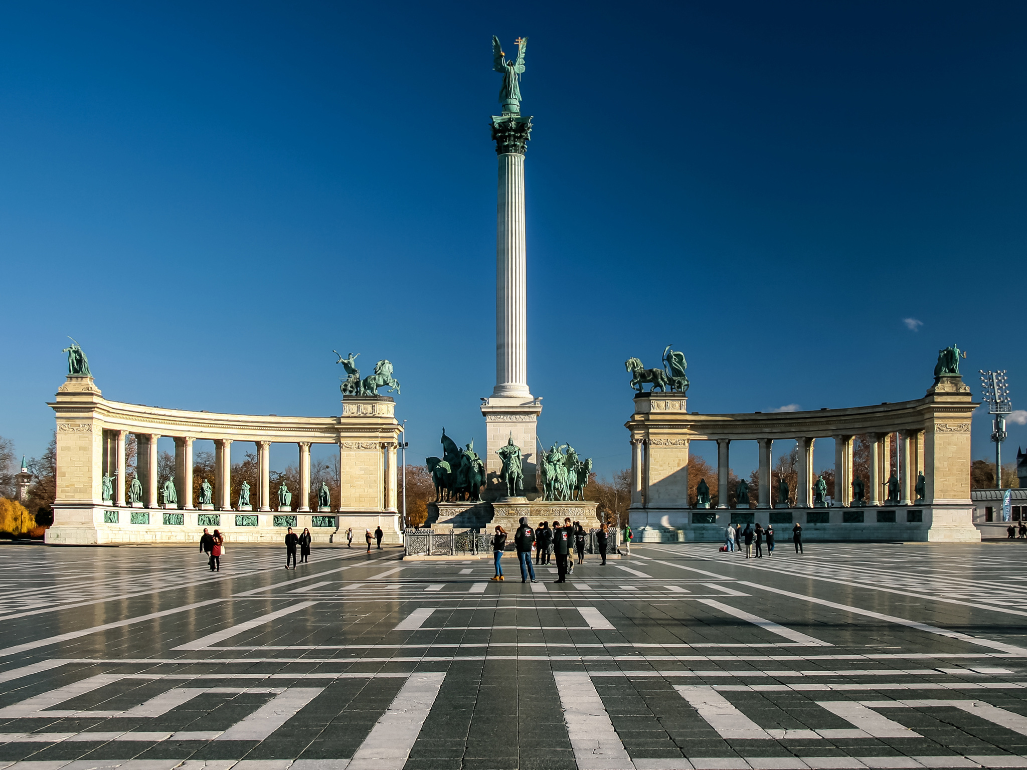 Heroes' Square monuments in central Budapest