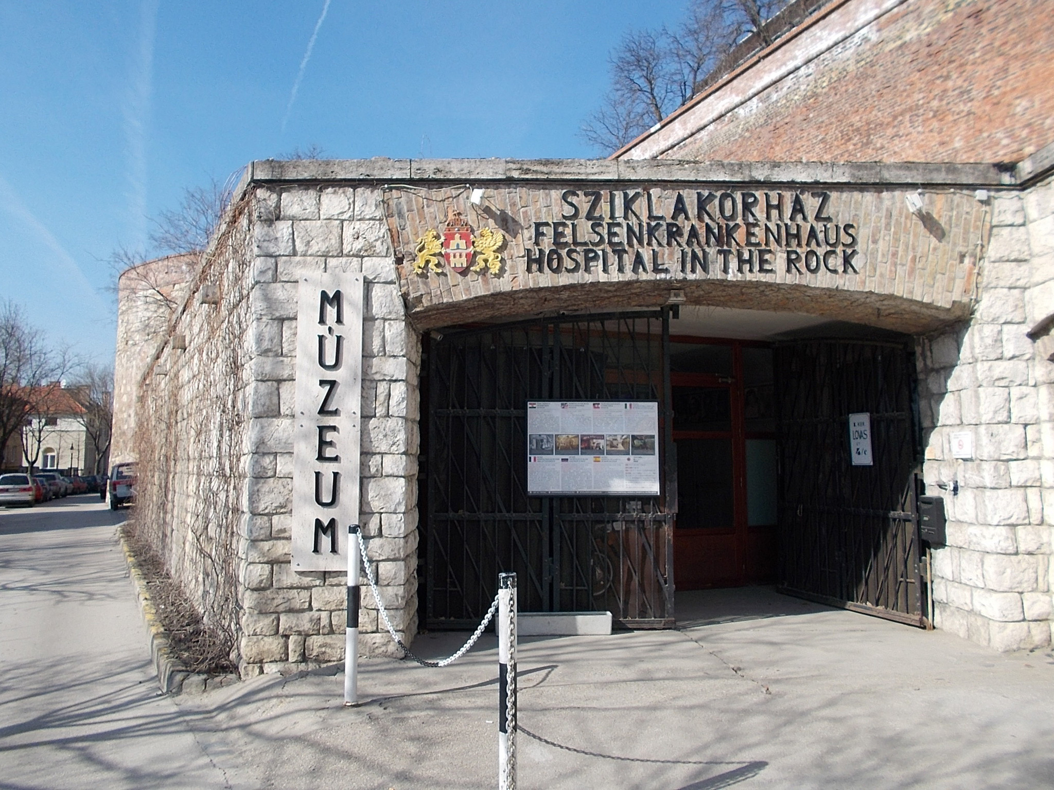 The entrance to the Hospital in the Rock in Budapest