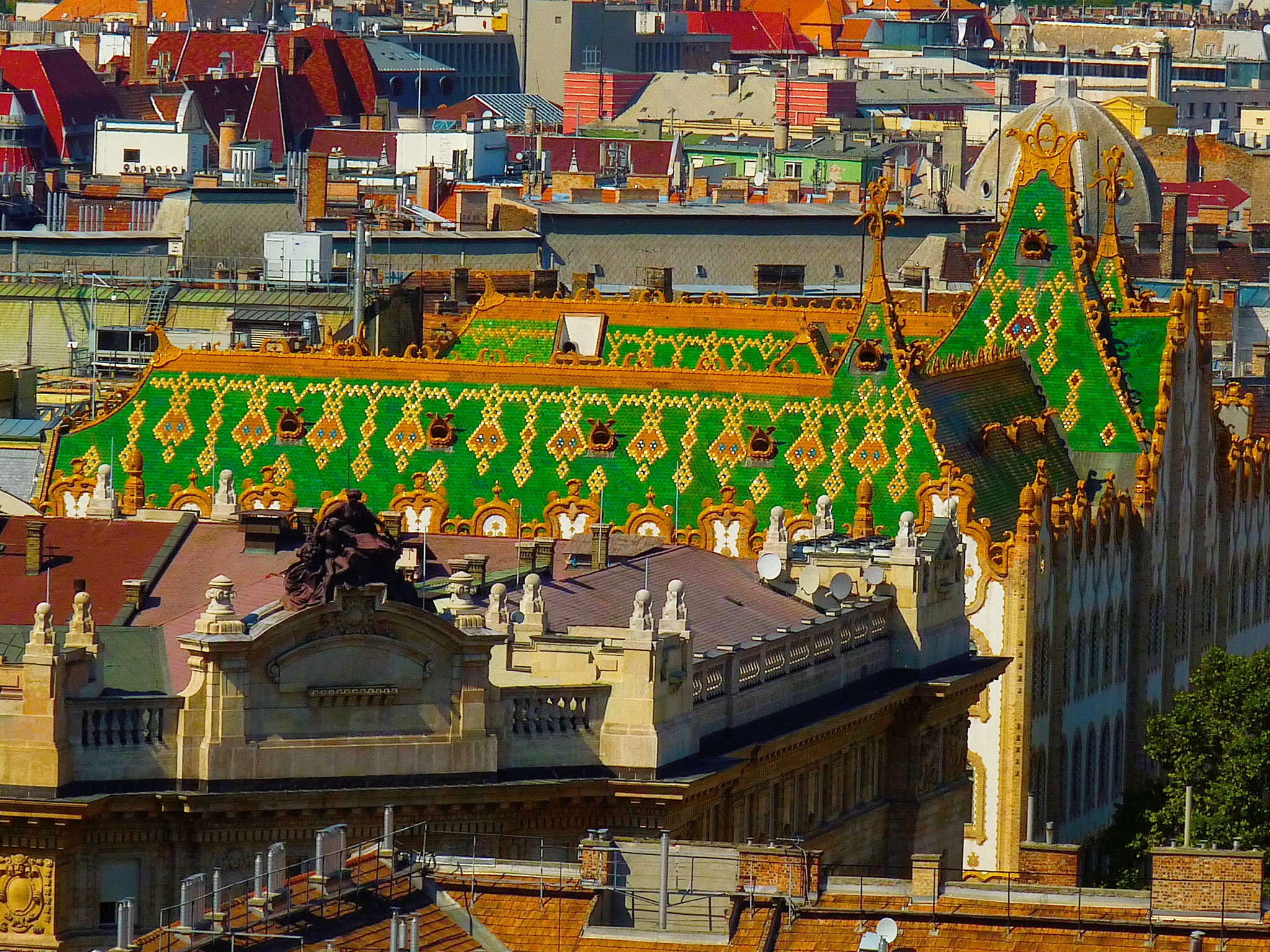 The striking rooftop of the Royal Postal Savings Bank in Budapest