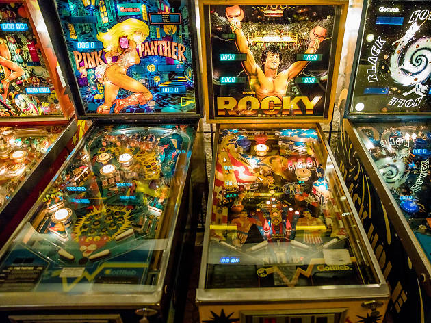 Some of the machines at Budapest Pinball Museum