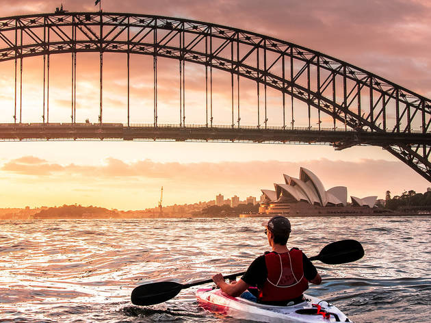 Generic man in kayak on Sydney Harbour