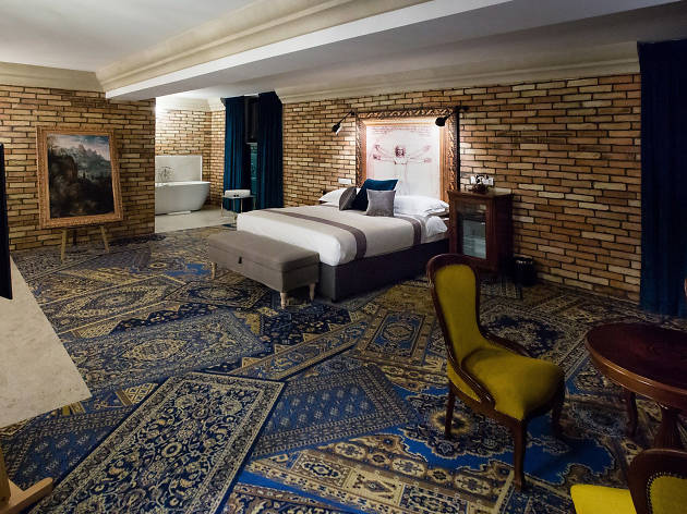 A luxury 'atelier' room at Mystery Hotel in Budapest