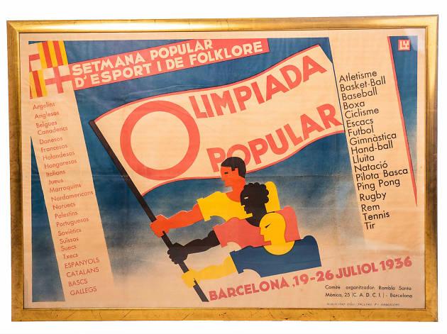 Cartell de l'Olimpiada Popular 1936. Peça del Museu Olímpic i de l'Esport