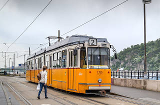 One of Budapest's iconic yellow trams