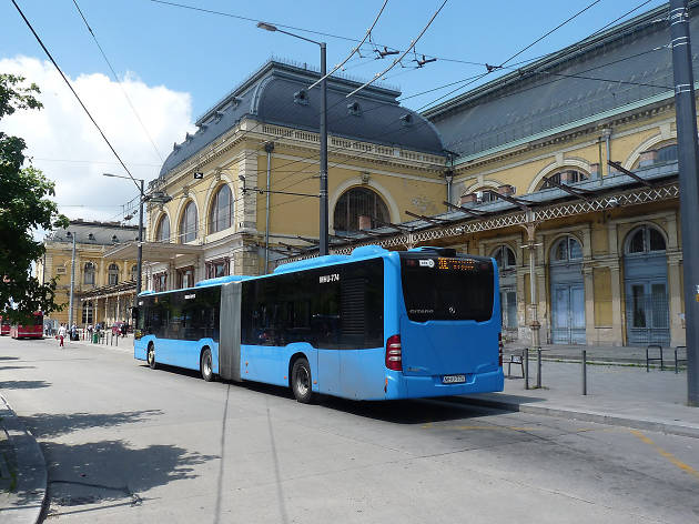 A blue Budapest bus