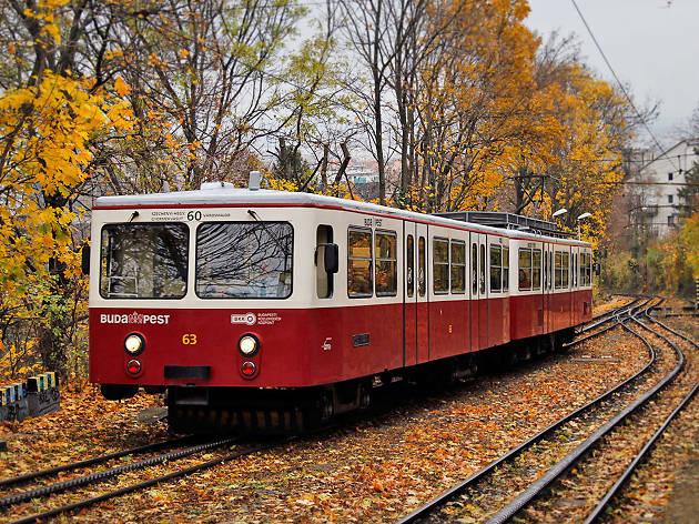 Budapest's cogwheel railway in autumn