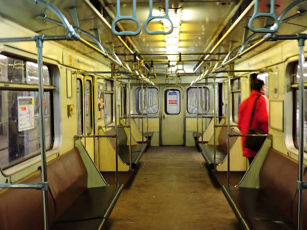 The interior of a carriage on Budapest's M3 metro line
