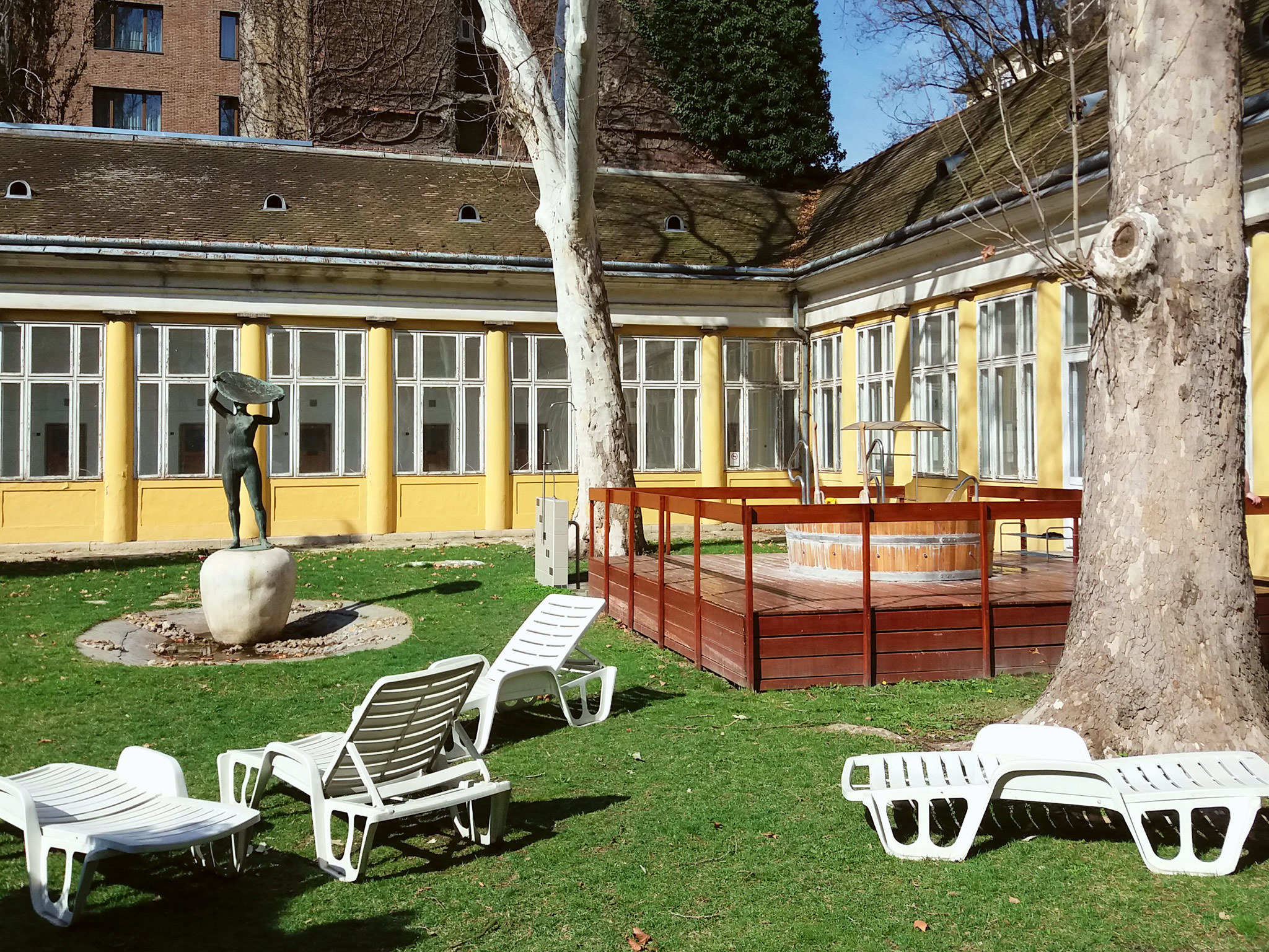 A courtyard at Kiraly Baths in Budapest
