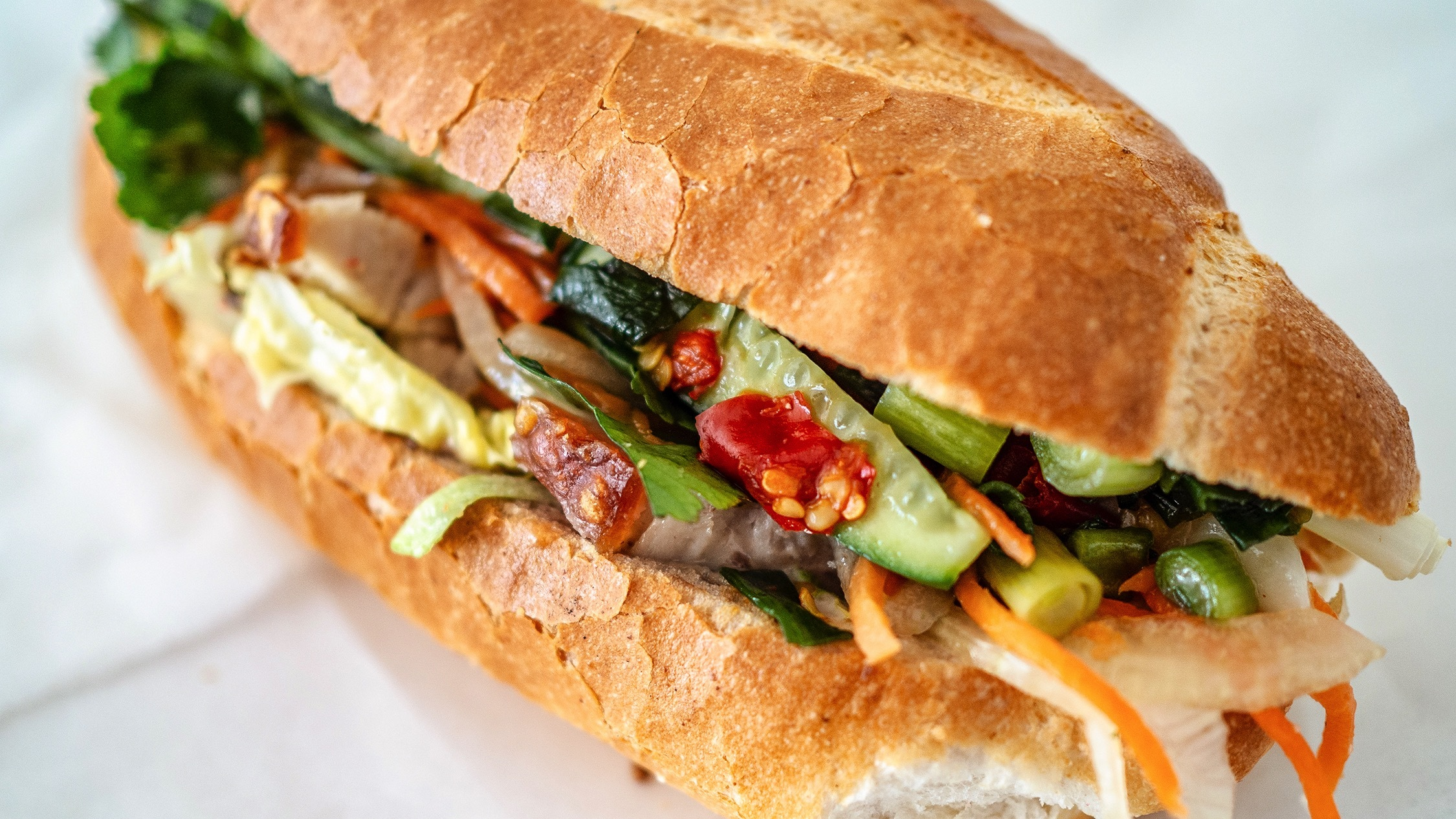 A close-up of a Vietnamese banh mi