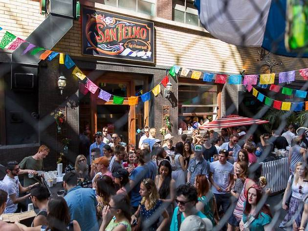 Street party outside San Telmo restaurant