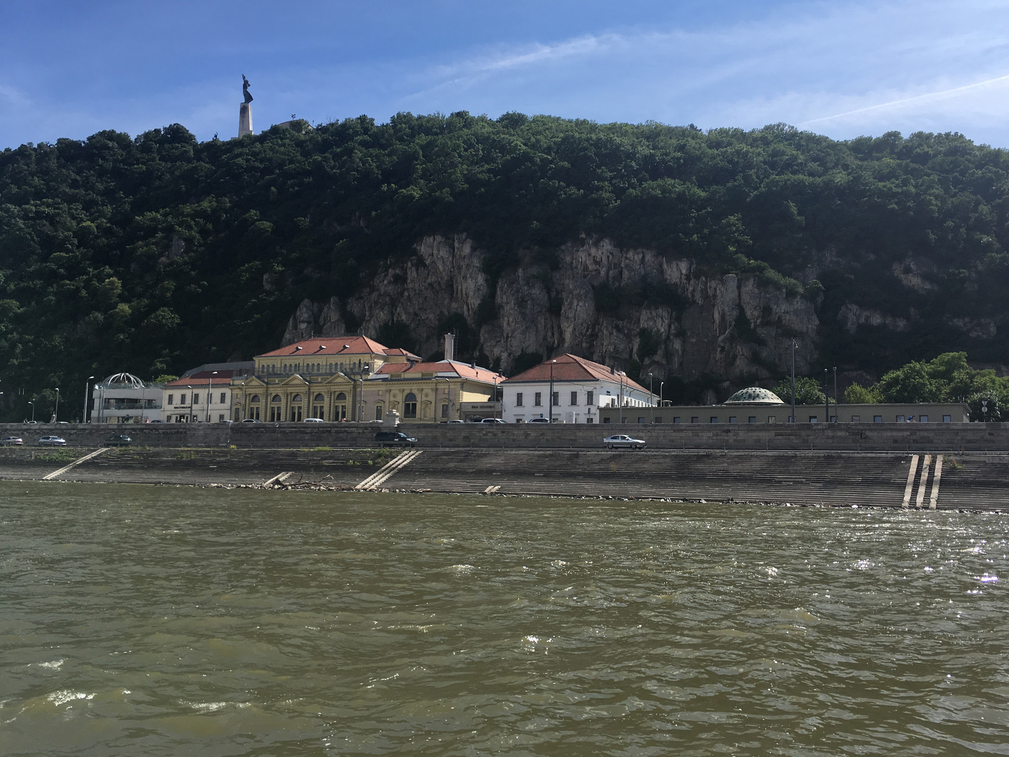 A view across the water over the Rudas Baths complex in Budapest