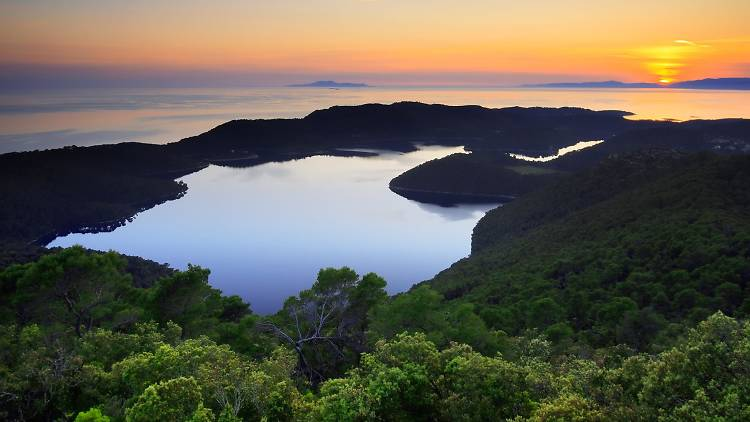 Mljet island and its lovely lakes surrounded by the Adriatic