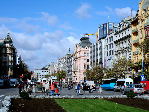 Wenceslas Square in Nove Mesto, New Town in Prague