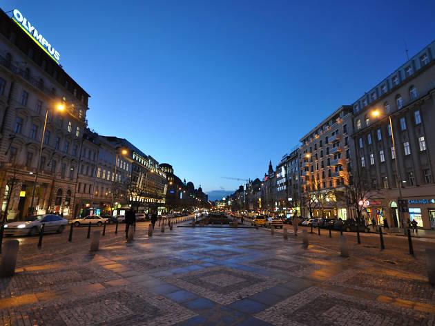 Wenceslas Square in New Town neighbourhood in Prague