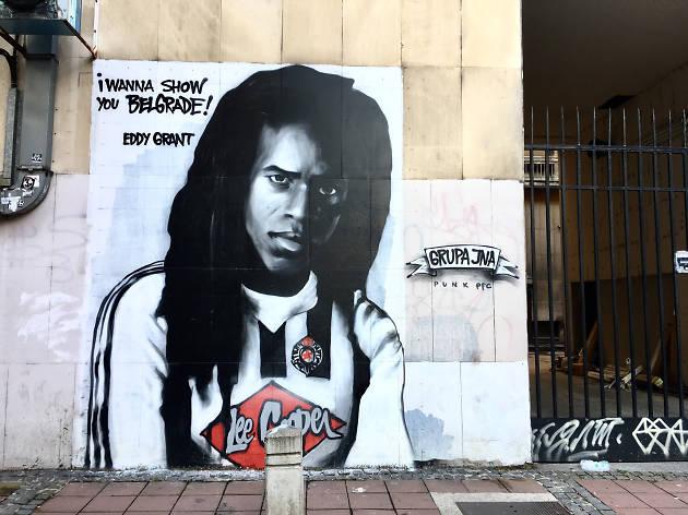 Mural of Eddy Grant in Dorćol, Serbia