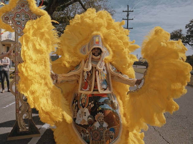 Big Chief Demond Melancon of the Young Seminole Hunters on St. Claude Avenue in New Orleans in 2018