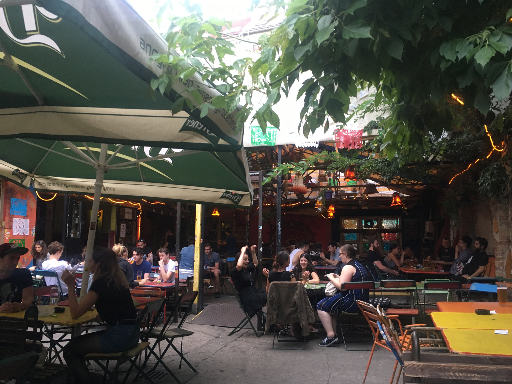 The terrace at Ellatò Kert bar in Budapest