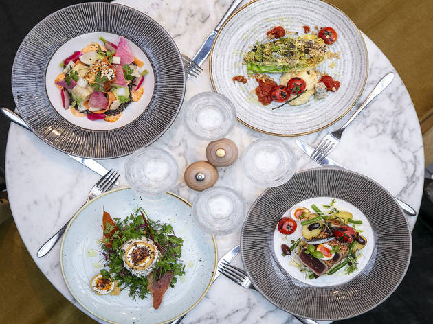 £18 for three courses and a glass of wine at 100 Wardour Street
