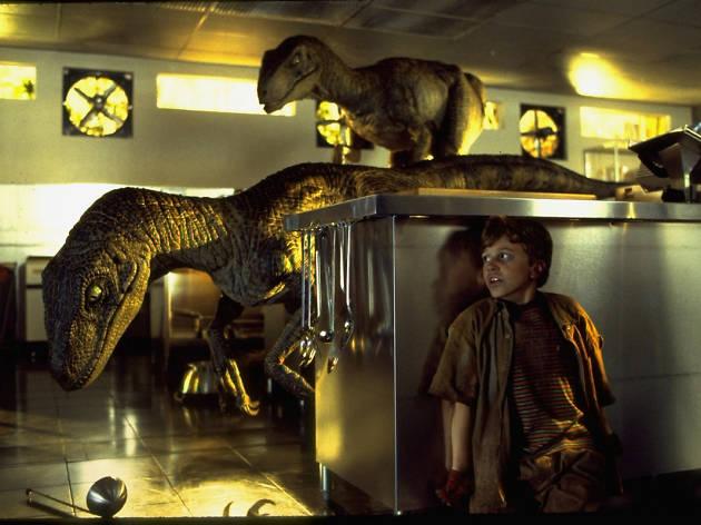The velociraptor scene from Jurassic Park