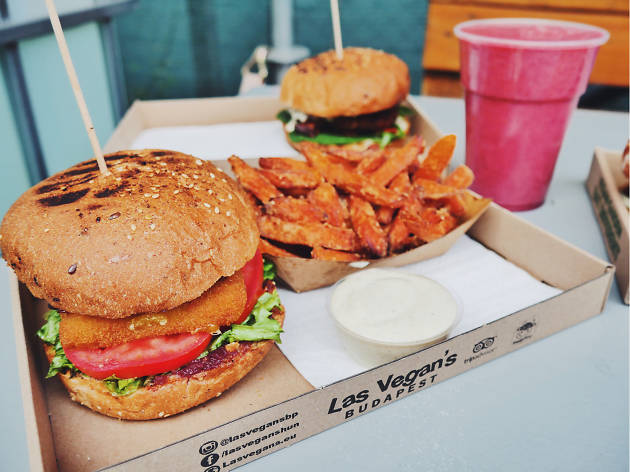 A burger on offer at Vegan Garden street food market