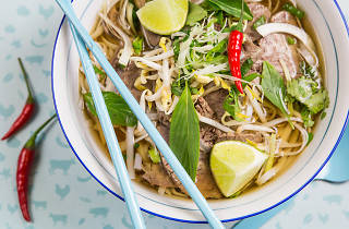 A pho soup from Funky Pho street food in Budapest