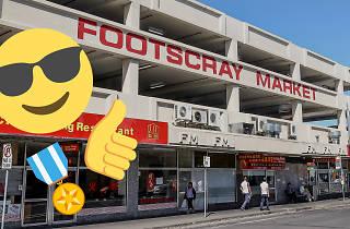 Exterior of Footscray Market with emojis