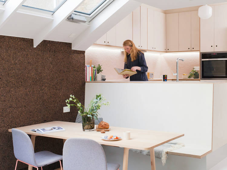 The kitchen made from cork
