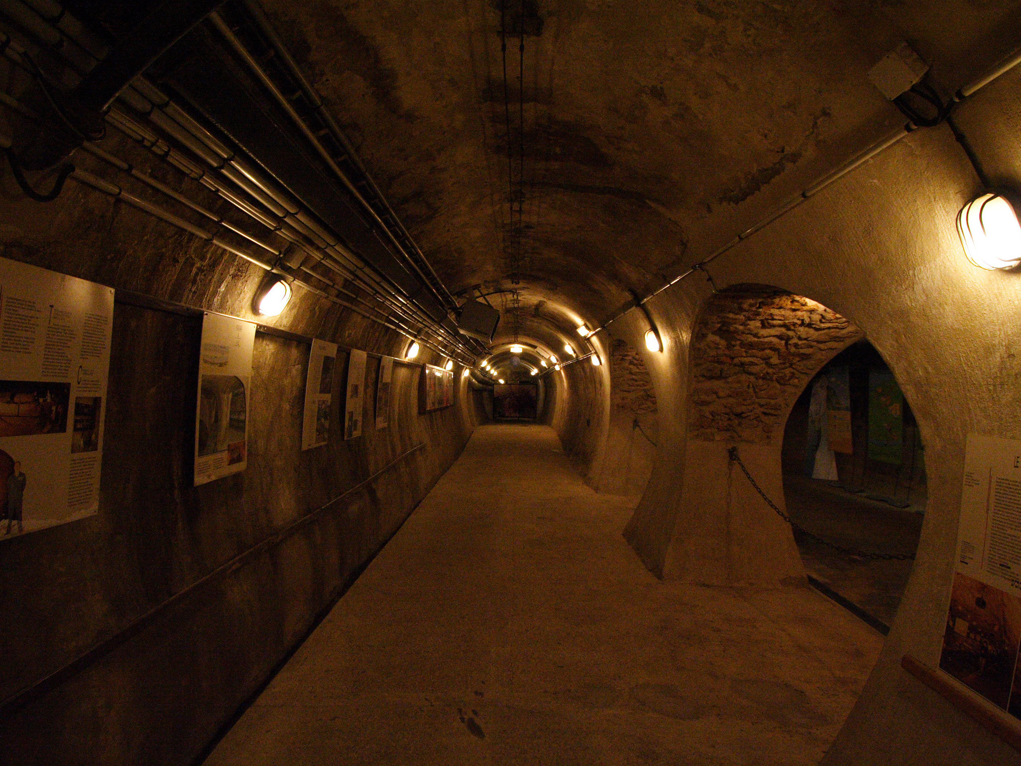 Looking down a sewer at the Musée des Égouts