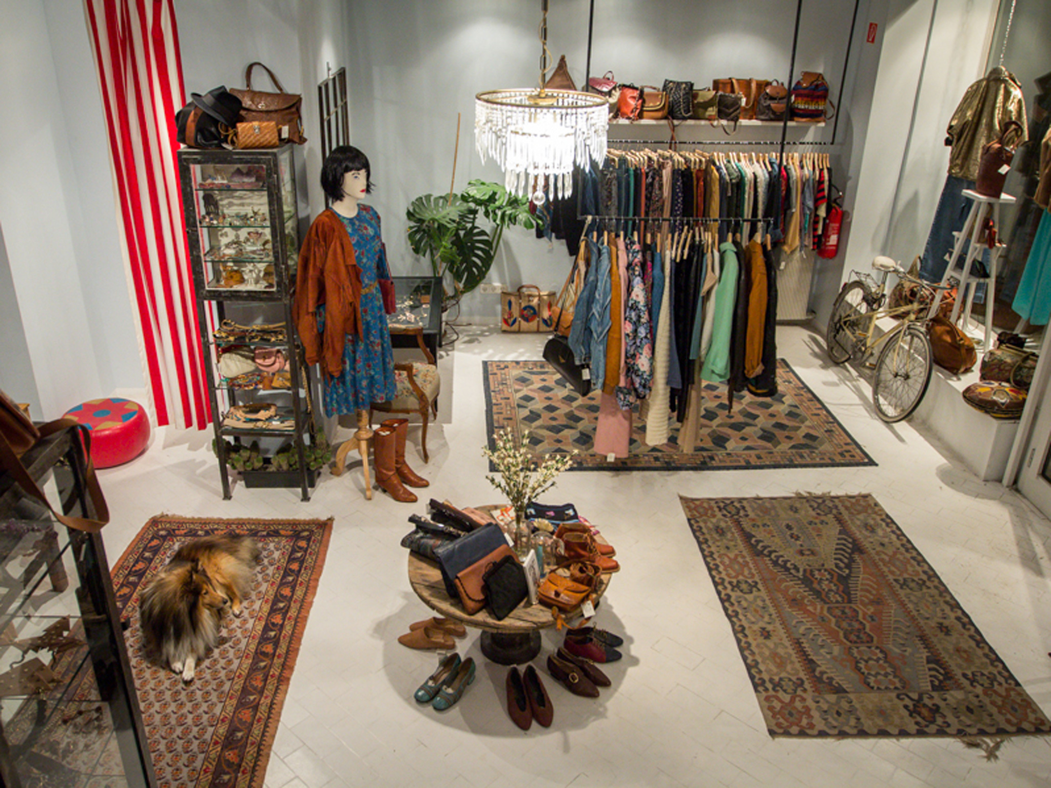 Clothes and accessories on sale at Ludovika vintage shop