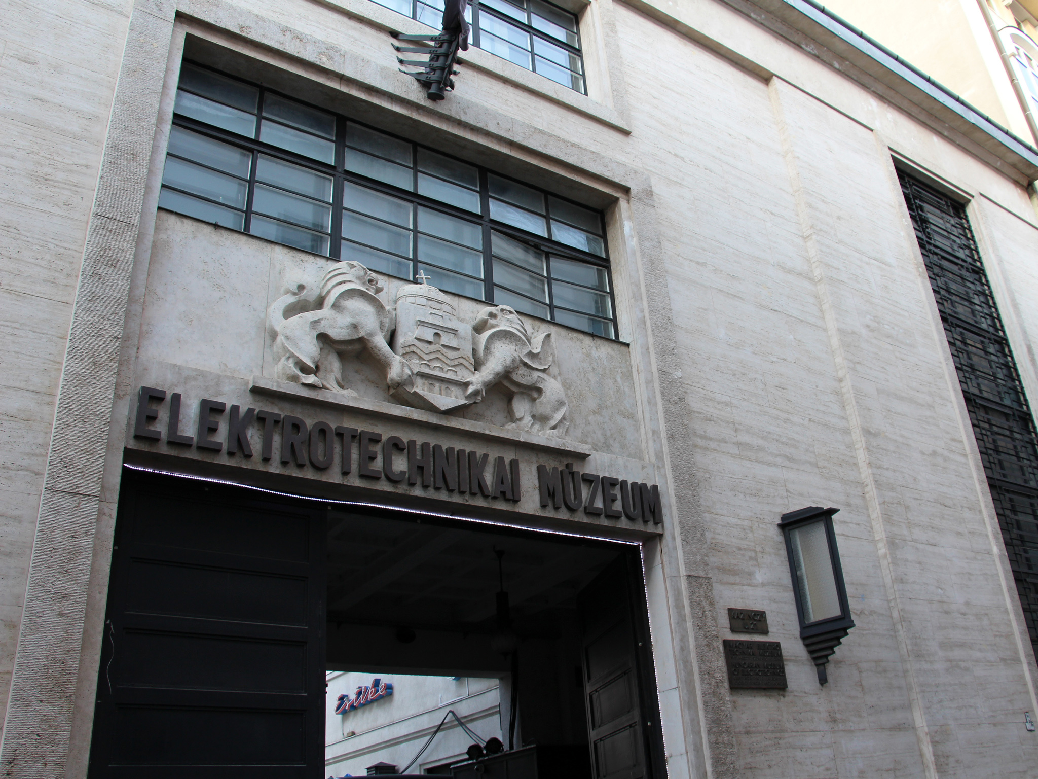 Entrance to Elektrotechnikai Muzeum in Budapest