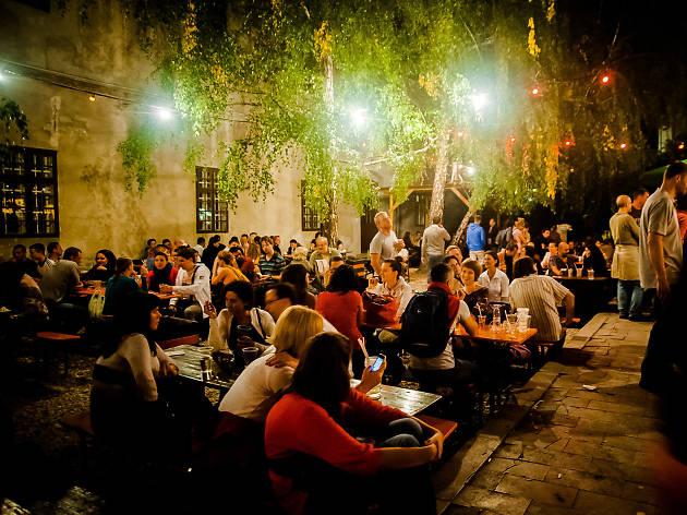 The terrace at Kobuci Kert ruin bar in Budapest