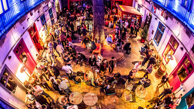 An aerial view of Doboz ruin bar in Budapest